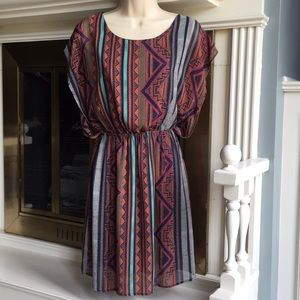 Everly tribal stripe batwing sleeve dress Sz Med